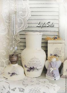 Купить Крынка ваза Лаванда на белом Люблю прованс - белый, ваза для цветов, ваза декоративная