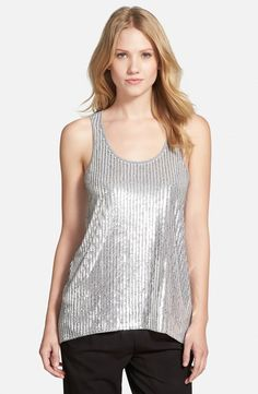 Sequin Front Tank Color: Pearl Heather, Price: $44.77.  Silvery sequins illuminate the front of a scoop-neck tank night out top in a soft cotton-blend knit.