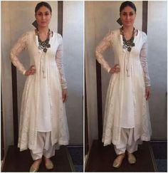 Kareena kapoor in white kurta salwar and angrakha India Fashion, Ethnic Fashion, Latest Fashion, Women's Fashion, Fashion Trends, Hindus, Indian Attire, Indian Wear, Saris