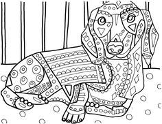 dachshunds coloring page by heather galler art
