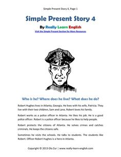 Look! A free printable English short story in the simple present tense with worksheets and answer keys! Perfect for ESL / EFL students and teachers.: