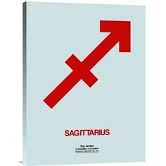 "Naxart 'Sagittarius Zodiac Sign' Graphic Art on Wrapped Canvas in Red Size: 24"" H x 18"" W x 1.5"" D"