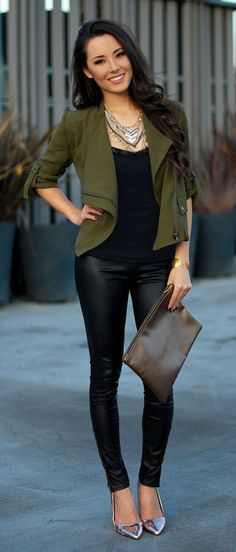 Love the pants and the jacket. Also love the overall vibe of the outfit. Love that olive green color as well as the leather like leggings.