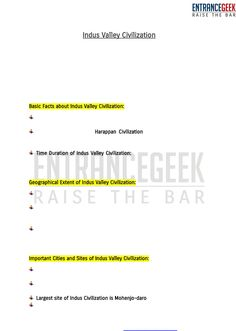 Indus Valley Civilization PDF Study Material by ENTRANCEGEEK   Indus River Harappan, Indus Valley Civilization, Study Materials, Pdf, Facts, River, Education, Onderwijs, Learning