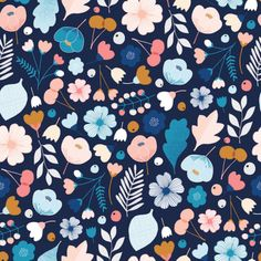 Fabric Patterns Dashwood Studios - Millefleur Yardage - Millefleur is a collection of fun, one-off prints from Dashwood Studio which hails from UK cotton fabric Ordering: ------------- Choose the dimension you want to order and then the quantity. Motifs Textiles, Textile Patterns, Color Patterns, Print Patterns, Flower Patterns, Floral Illustration, Pattern Illustration, Trendy Wallpaper, Wallpaper Backgrounds