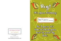 Happy Birthday Card Best If Used By Date by KatMariacaStudio Special Birthday Cards, Unique Birthday Cards, Funny Birthday Cards, It's Your Birthday, Hallmark Cards, Handmade, Hand Made, Craft, Funny Anniversary Cards