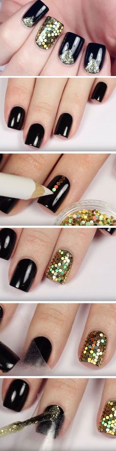 Black & Gold Glitter Placement | Click Pic for 20 DIY New Years Eve Nail Art Ideas for Teens 2016 | Quick and Easy Nail Designs for Special Occasions