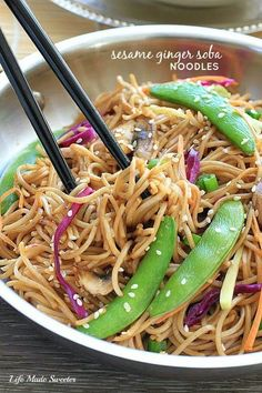 Sesame Ginger Soba Noodles - Flavorful, delicious, sesame ginger soba noodles is super easy dish to customize and comes together quickly in just 20 minutes.