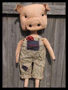 FTFD 52 - Prim Hammy the Pig - primitive farm animal raggedy critter doll E-PATTERN.  via Etsy.