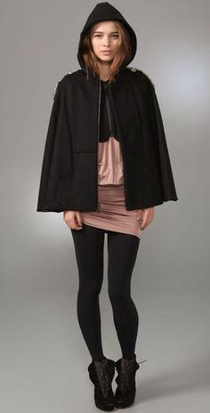 Love this Alice + Olivia black cape coat with embellished shoulder details!