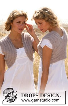 "Knitted DROPS bolero with textured pattern in ""Alpaca"" and ""Kid-Silk"". Size: S - XXXL. ~ DROPS Design"