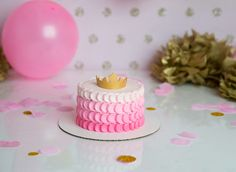 Princess smash cake. Pink Ombré buttercream & gold fondant crown