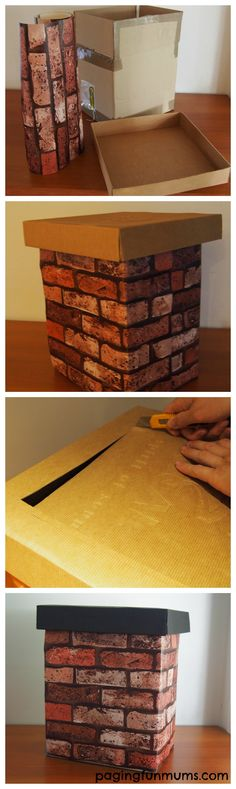 DIY Chimney Christmas Photo Prop! Click to the website to see the cute photos of it being used.