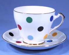 Imperial Contemporary Polka Dot Vintage Bone China Tea Cup Saucer and Tea Plate Trio