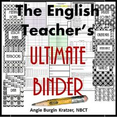 The English Teacher's Ultimate Binder has everything you need from lesson plan dividers, parent contact dividers. attendance and grade dividers, curriculum dividers and more. | by Angie Kratzer