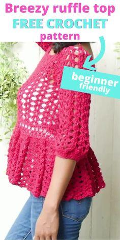 Crochet Ruffle, Crochet Jacket, Crochet Blouse, Easy Crochet, Free Crochet, Crochet Stitches For Beginners, Crochet Videos, Easy Knitting Patterns, Lace Crochet Patterns
