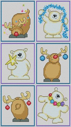 Polar Bear and Reindeer Christmas Card designs, available to download now at  http://lucieheaton.com/cross-stitch-patterns-and-designs/christmas-cross-stitch-patterns/polar-bear-reindeer-christmas-card-cross-stitch-pattern