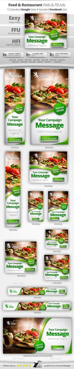 Food & Restaurant Web & Facebook Banners Ads - Banners & Ads Web Elements