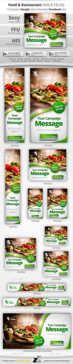 Food & Restaurant Web & Facebook Banners Ads Design Template - Banners & Ads Web Template PSD. Download here: https://graphicriver.net/item/food-restaurant-web-facebook-banners-ads/11082048?s_rank=10&ref=yinkira