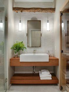 Guest Bathroom, Vivid Interior with Nor-Son and Eskuche Design (stone tile, porcelain tile, shower alcove, sauna, wood vanity, contemporary)