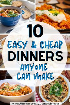 Need some super easy, inexpensive dinner recipes? These cheap meal ideas are perfect for busy families on Easy Meals For Two, Cheap Easy Meals, Dinner Recipes Easy Quick, Inexpensive Meals, Cheap Dinners, Frugal Meals, Cheap Recipes, Budget Recipes, Fun Recipes
