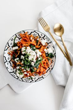 Kenwood Spiralizer Sweet Potato Noodles with Spinach & Feta Recipe | Bikinis & Passports