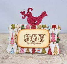 "Cute bird cards with a handstamped ""Joy"" sentiment banner.  Blank inside.  Cards measure 4 x 4.5 inches and come as a set of 4. These would be cute used as gift tags on packages, placecards or use as a card. By JulietsShop for $6.00"