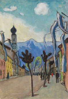 Gabriele Münter (German, 1877-1962), Murnau, Hauptstrasse am Sonntag im Mai [Murnau - High Street on a Sunday in May]. 1924. Oil on cardboard, 50.4 x 34.5 cm.
