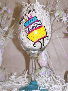 Hand Painted Wine Glass It's a Birthday Party by ArtworkByKimTyson, $17.75