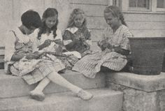 Girls Knitting - September 1918 issue of the Norwester Magazine depicting the end of summer and heralding the start of the new school year.