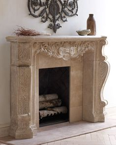 Mantel made of crushed stone/polyresin/styrene/fiberglass. Hand-painted aged limestone lacquer finish. Includes mounting hardware. Do not use corrosive chemicals to clean. Safe for outdoor covered pat