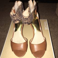 Michael Kors Guiliana Open Toe Sandal Open toe dressy sandal in Sand color leather with embossed leather heel and ankle strap detailing. Gold plate on ankle and back zipper closure with kitten heel. In great condition, wear is very minimal. Michael Kors Shoes Heels