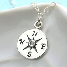 SALE-FREE SHIPPING- Compass Necklace with Genuine Diamond, North Star, Journey Necklace, Bon Voyage Gift, Long Distance Gift, Inspirational