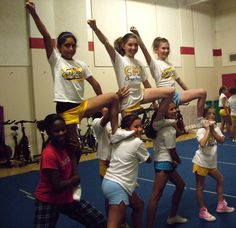 have to see if its legal but i like it :) Maybe do something like this on the SIDELINES at games? Have a long line of girls along the sideline during a certain cheer? Not competition material, but might be cute just for games. Easy Cheerleading Stunts, Cheerleading Cheers, Football Cheer, Cheer Coaches, Cheerleading Quotes, Cheer Pyramids, Cheerleading Pyramids, Easy Cheers, Fun Games For Girls