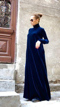 New Maxi Velvet Red Dress / Kaftan Dress / Side Pockets by Aakasha