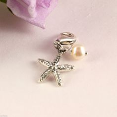 925 Sterling Silver Clip On Starfish and Pearl Trigger Clasp Charm for Bracelet
