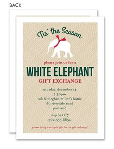 printable white elephant gift exchange by greencherryfactory, Party invitations