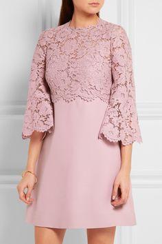 Valentino | Mini-robe en dentelle cordonnet et en crêpe à manches cloche | NET-A-PORTER.COM