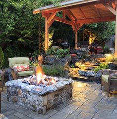 These fire pit ideas and designs will transform your backyard. Check out this list propane fire pit, gas fire pit, fire pit table and lowes fire pit of ways to update your outdoor fire pit ! Find 30 inspiring diy fire pit design ideas in this article. Backyard Patio Designs, Backyard Landscaping, Patio Ideas, Backyard Ideas, Landscaping Ideas, Backyard Projects, Modern Backyard, Outdoor Ideas, Pergola Patio