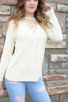 Ivory Taylor Criss Cross Cut Out Sweater