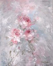 Spring Original Shabby Chic Rose Painting by Debi Coules
