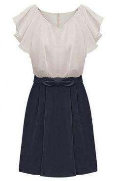 Navy Short Sleeve Zipper Bow Chiffon Dress pictures