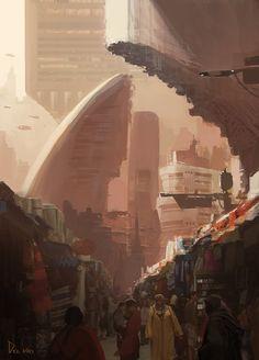 ArtStation - Outer colony shops, Eddie Del Rio