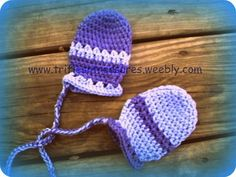 Free Crochet Pattern -- Stripes- Thumb-less Baby Mitts