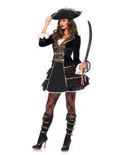 High Seas Pirate Captain Costume, Sexy Pirate Costume, Black and Gold Pirate Costume Sexy Pirate Costume, Costume Sexy, Pirate Halloween Costumes, Halloween Fancy Dress, Costume Dress, Adult Costumes, Costumes For Women, Adult Halloween, Pirate Cosplay