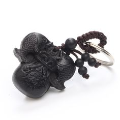Chinese Traditional Wood Products Ebony Wood Double Fish Every Year More Than Car Key Ring Pendant Keychain