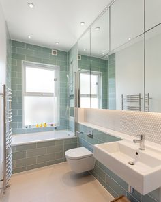 Chestnut Road: A Link of Five Detached Bedrooms with Bright Interior and Spacious Spaces - Wood Parquet Light Green Bathrooms, White Bathroom, Bathroom Interior, Modern Bathroom, Bathroom Ideas, Green Subway Tile, Bidet, Family Bathroom, Victorian Homes