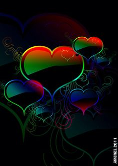 Buy 'Rainbow Hearts' by Eric Jimenez as a Greeting Card. Dreamy rainbow hearts and filigree floating in a dark background. Butterfly Wallpaper, Heart Wallpaper, Cellphone Wallpaper, Wallpaper Backgrounds, Love Heart Images, Heart Pictures, I Love Heart, Hearts And Roses, Pink Hearts