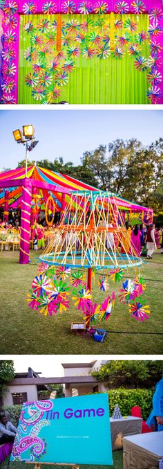 Indian wedding backdrop ideas. Colorful. Mela themed. Colorful printed Sign boards for games and designated areas