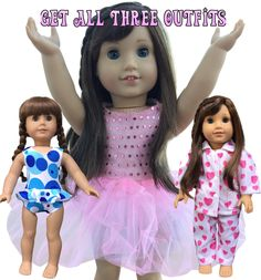 In-Style Doll Clothes fits american girl dolls and other 18 inch dolls. This set includes all three outfits available on amazon http://bit.ly/Balletsetbuynow.